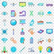 Computer icons set. Cartoon style of 36 computer vector icons for web for any design