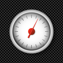 Realistic White Speedometer Isolated On Transparent Background. 3d Timer Watches. Sport Car Odometer With Motor Miles Measuring Scale. Deadline Concept. Engine Power Concept Template. Vector