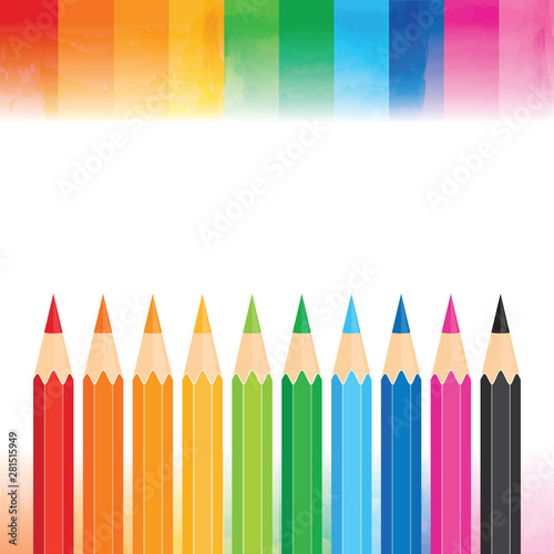 Vector Education Banner With Copy Space Rainbow Borders And A Row Of Colored Pencils On White Background Square Template For Back To School Promotion Flyer Social Media Newsletter School Poster Buy