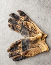 Overhead View Of Pair Of Gloves In Workshop