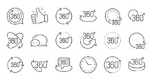 360 Degrees Line Icons. Rotate...