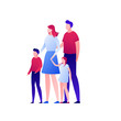 Vector modern gradient flat family illustration. Couple of parents with son and daughter holding hands and standing isolated on white background. Design element for banner, poster, infographics.
