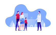 Vector Modern Flat Family Doctor Illustration. Parents With Child Female Visiting Hospital On Landscape Building Background. Design Element For Banner, Poster, Clinic, Infographics.