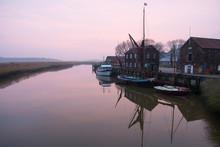 Sailing Boats Moored At Harbor