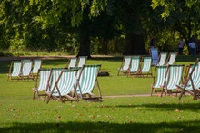 Deck Chairs In St. James's Park, London, UK