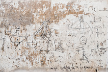 Close Up Of 18th Century Graffiti Of Sailboats On Wall
