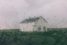 Abandoned Of Farmhouse Seen Through Window