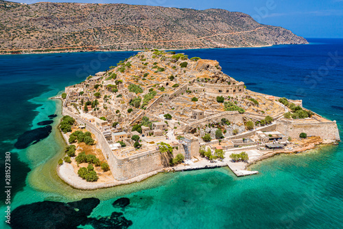 Aerial drone view of the ancient island of Spinalonga on the Greek island of Cre Wallpaper Mural