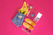 canvas print picture - Flat lay composition with stylish summer clothes and accessories on pink background