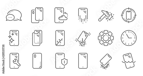 Foto  Smartphone protection line icons
