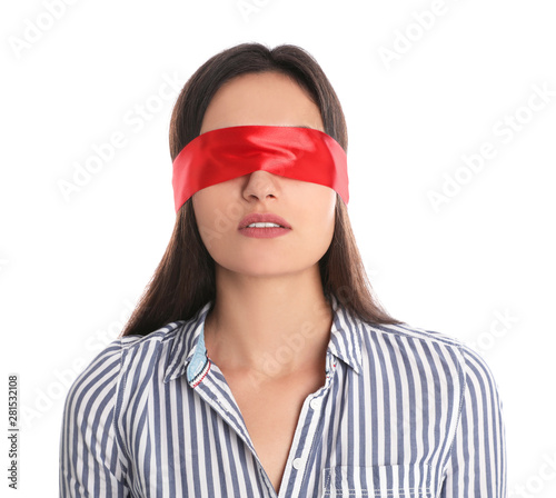 Young woman wearing red blindfold on white background Canvas Print