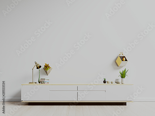 Fotografía TV stand,TV cabinet mockup in modern empty room,white wall, 3d rendering