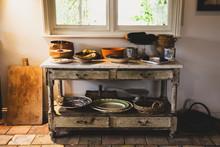 Antique Utensils On Table