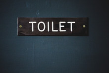 Close Up Of Toilet Sign On Blue Door