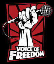 Microphone In A Hand, Hand Holding A Microphone In A Fist, Vector Logo Or Poster Design Concept.