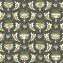 Seamless Vector Pattern. Hand Drawn Thistle Flower Damask. Ornamental Victorian Baroque All Over Print. William Morris Style Background Swatch