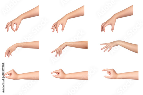 Set of female hands isolated on white background Tablou Canvas