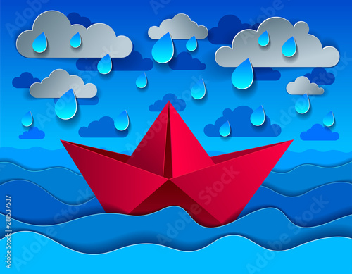 Origami paper ship toy swimming in rain over ocean, curvy
