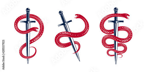 Fotomural  Snake and Dagger, Serpent wraps around a sword vector vintage tattoo, Life is a Fight concept, allegorical logo or emblem of ancient symbol