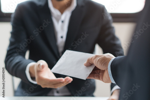 Fototapeta Close up view of  office worker receiving salary from boss. obraz