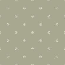 Seamless Geometrical Pattern With Stylized Daisy Motifs. Simple Monochrome Polka Dots.