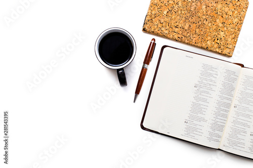 Photo Overhead View of Desk with Bible, Notebook, and Coffee