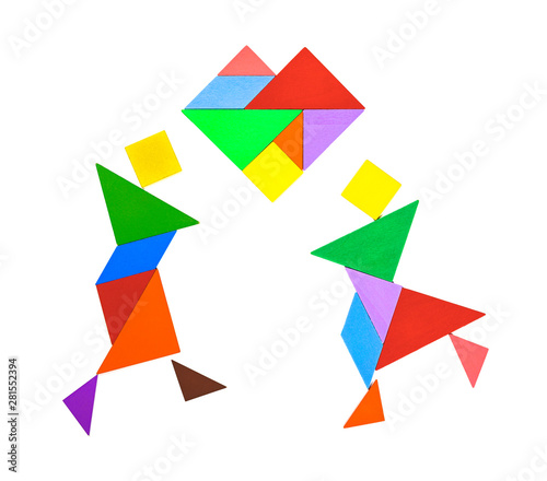Photo tangram shaped as couple dancing and dating on white