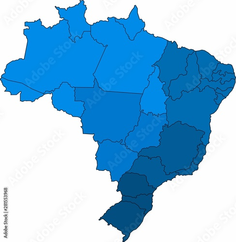 Obraz na plátně Blue outline Brazil map on white background. Vector illustration.