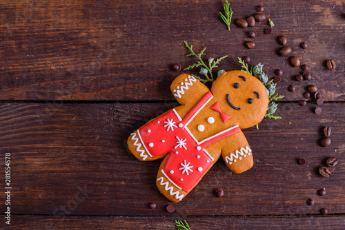 Christmas homemade gingerbread cookies on a dark background