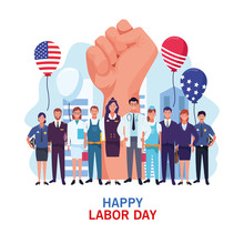 Happy Labor Day Card, USA Holi...