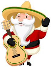 Vector Illustration Of A Happy Cartoon Santa Claus Wearing A Sombrero And Holding A Guitar.