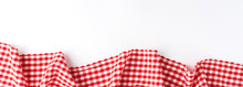Gingham Cloth On White Background With Copyspace. Banner