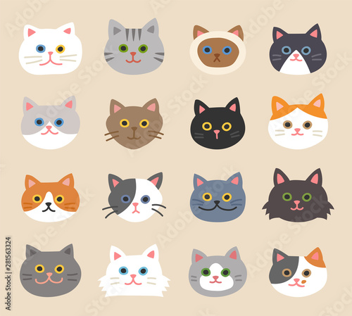 Obraz Set of cute cat faces with hand-drawn style. flat design style minimal vector illustration. - fototapety do salonu