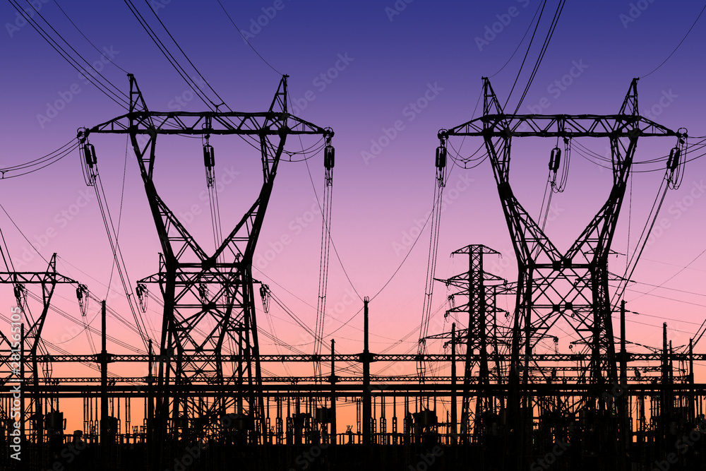 Fototapety, obrazy: high voltage pylons silhouette , sunset lighting, clear sky background