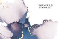 Marble Tender Rose Navy Watercolor Background Vector Set. Abstract Soft Golden Ink Texture. Modern Design Background For Wedding, Invitation, Web, Banner, Card, Pattern, Wallpaper Illustration.