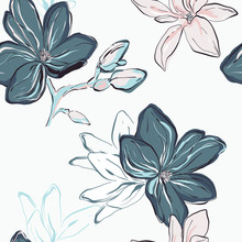 Seamless Blue Navy Vector Floral Pattern. Tender Blue Flowers On White Background. Floral Botany Art, Fabrics, Wrapping Paper Summer Bloom  Design