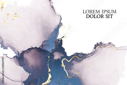 Marble tender rose navy watercolor background vector set Tablou Canvas