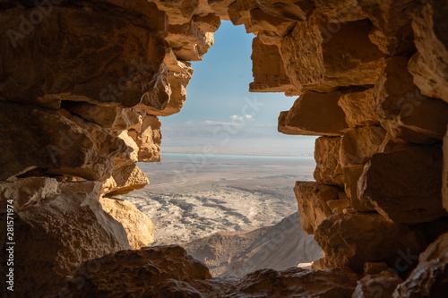 Obraz View from Masada ruins over the desert in israel - fototapety do salonu