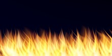 Realistic 3D Fire Flame On Black Backgroung. Hot Red-orange Flame. Vector Effect.