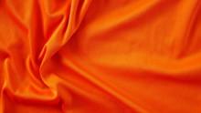 Orange Silk Fabric Background, Texture Of Sportswear Shirt