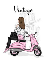 Beautiful Girl In A Stylish Closes Sits On A Vintage Moped. Vector Illustration For Postcard Or Poster, Print For Clothes. Fashion & Style.