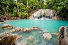 Beautiful Waterfall In Erawan Waterfall National Park In Kanchanaburi, Thailand