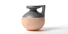 Ceramic Ancient Greek Small Vessel With Handle Isolated Against White Background. 3d Illustration