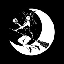 HALLOWEEN YOUNG WITCH WITH SKULL WHITE BLACK BACKGROUND