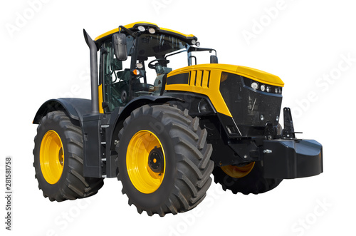 Big yellow agricultural tractor isolated on a white background Wallpaper Mural