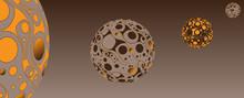 Retro Psychedelic Bubbles Planet System Copper