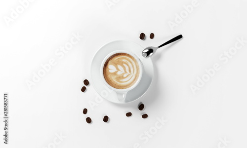 cup of coffee with coffee beans, milk froth, saucer and spoon isolated on a white background, 3d render