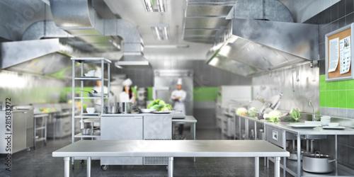 Fotografía Industrial kitchen. Restaurant modern kitchen. 3d illustration