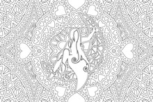 Art For Coloring Book Page With Woman Silhouette