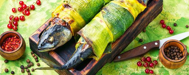 Fish baked in leek